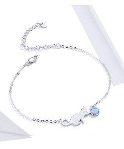 Jovial Cat Silver Bracelet