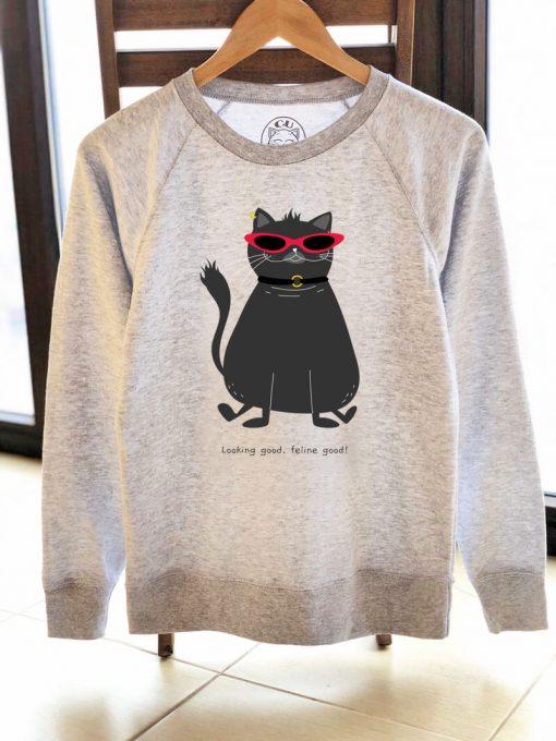 Printed Sweatshirt-Looking Good, Feline Good, Women