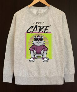 Printed Sweatshirt-I don't care, Men