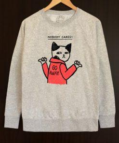 Printed Sweatshirt-Nobody Cares, Men