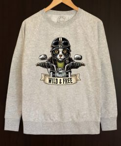 Printed sweatshirt-Motorcyclist Cat, Men