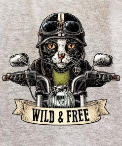 Printed sweatshirt-Motorcyclist Cat