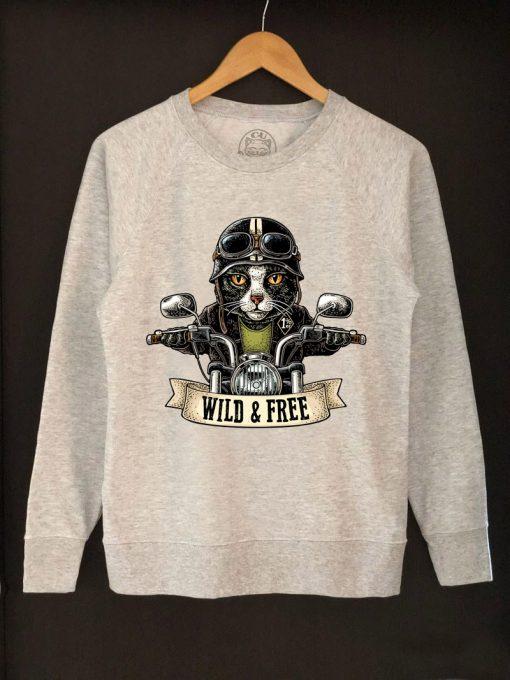 Printed sweatshirt-Motorcyclist Cat, Women