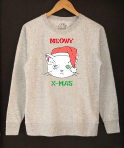 Printed Sweatshirt-Meowy X-Mas, Women