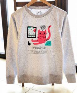 Printed Sweatshirt-Grumpy Cat, Women