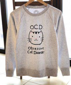 Hand painted Sweatshirt-Obsessive Cat Disorder, Women