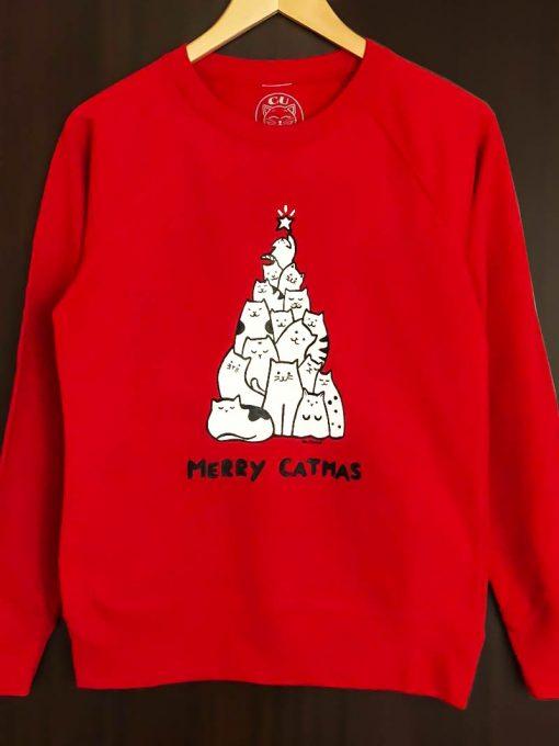 Hand painted Sweatshirt-Merry Catmas, Women