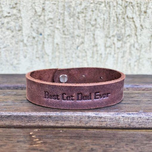 Natural leather bracelet-Best Cat Dad Ever