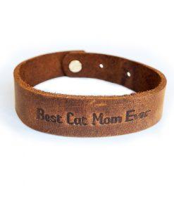 Natural leather bracelet-Best Cat Mom Ever