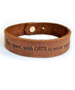 Natural leather bracelet-Time Spent With Cats is Never Wasted