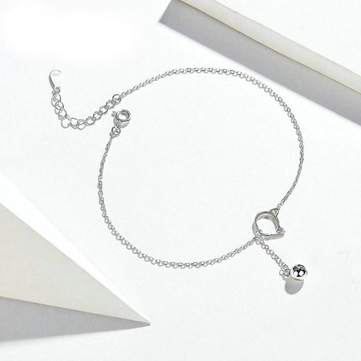 Silver foot bracelet-Cat with Bell