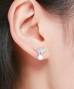 Playful Cats Silver Earrings