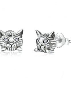 Cute Cat Silver Earrings