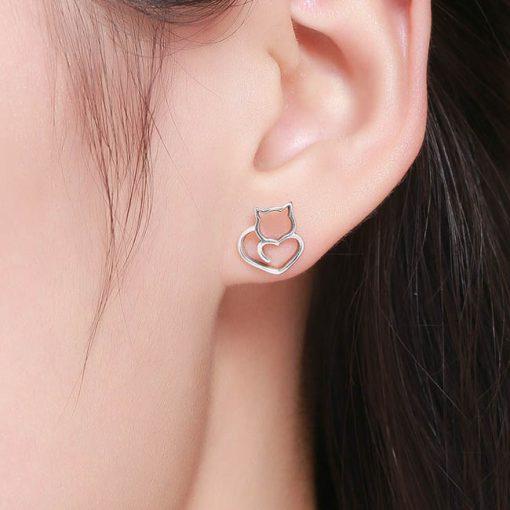 Adorable Cat Silver Earrings