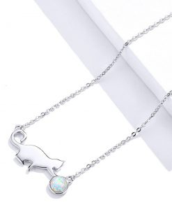 Jovial Cat Silver Necklace