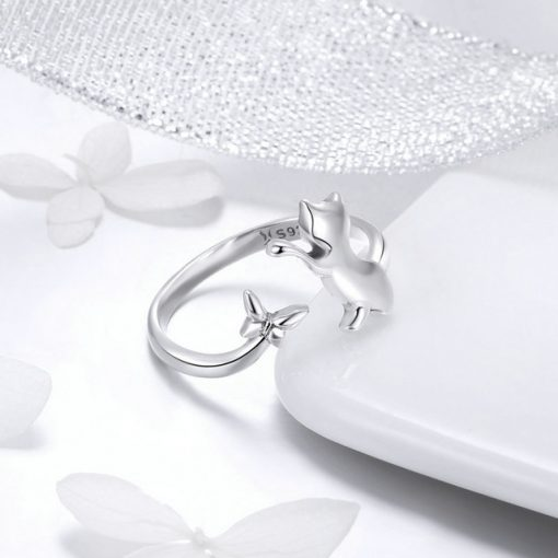 Cat and Butterfly Silver Ring