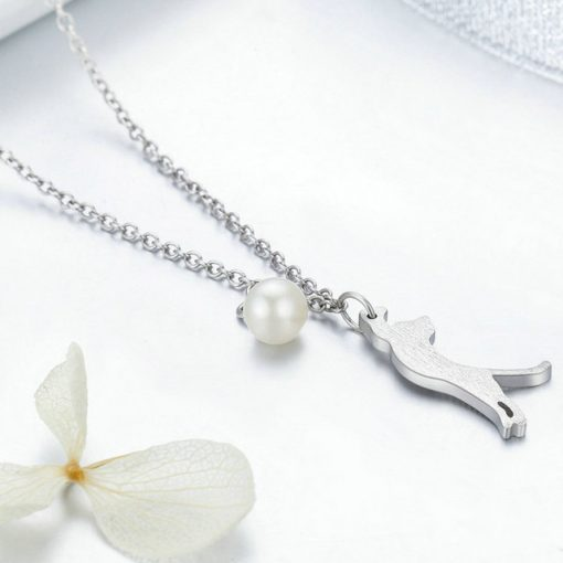 Playful Cat Silver Necklace