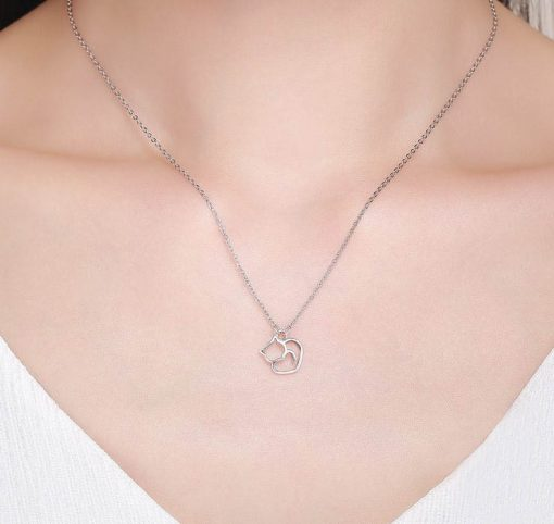 Adorable Cat Silver Necklace