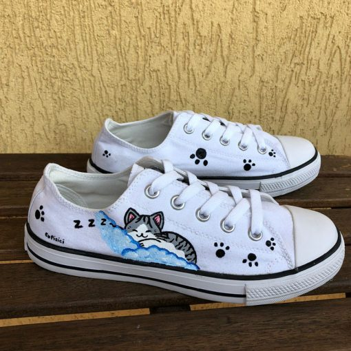 Hand painted Sneakers-Chi Cat