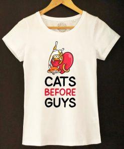 Organic cotton T-shirt- Cats before Guys, Women