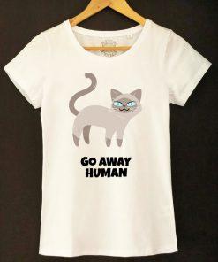Organic cotton T-shirt- Go away Human, Women