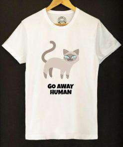 Organic cotton T-shirt- Go away Human, Men