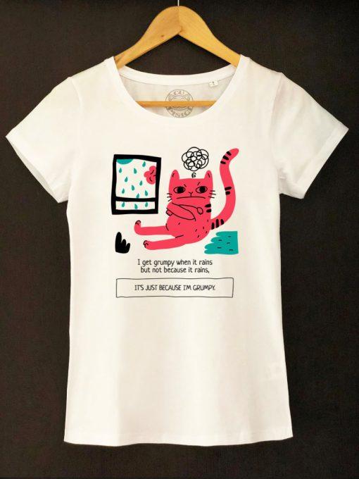 Organic cotton T-shirt- Grumpy Cat Rainy Days, Women