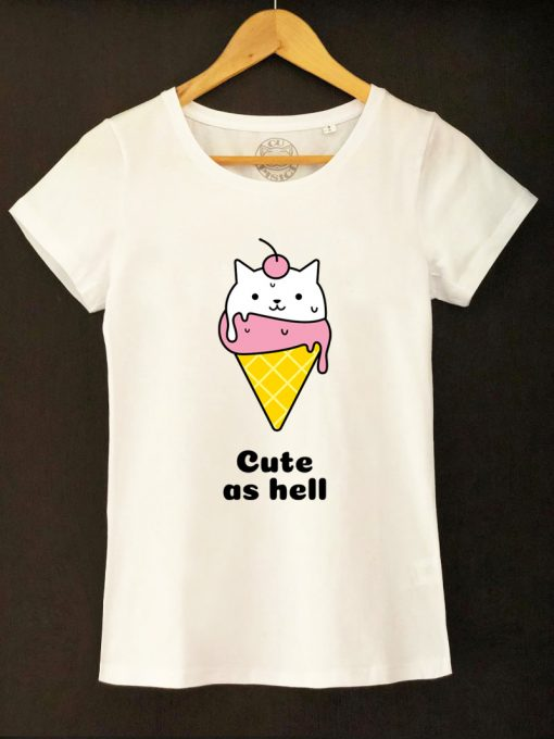 Organic cotton T-shirt- Icecream Cat, Women