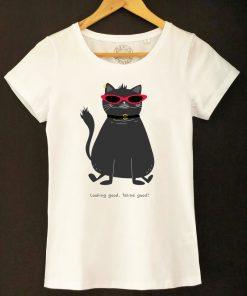 Organic cotton T-shirt- Looking good, feline good, Women