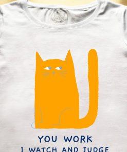 Organic cotton T-shirt- Judgemental Cat, Men