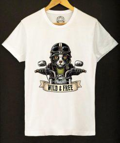 Organic cotton T-shirt-Motorcyclist Cat, Men