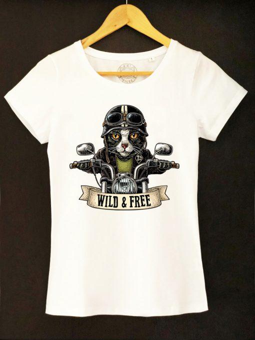 Organic cotton T-shirt-Motorcyclist Cat, Women
