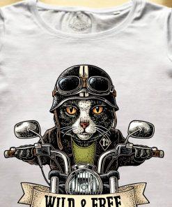 Organic cotton T-shirt-Motorcyclist Cat