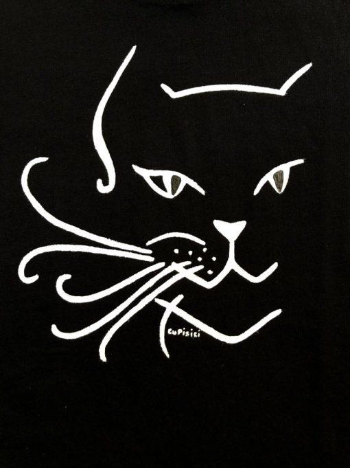 Hand painted T-shirt-Black Cat, Women