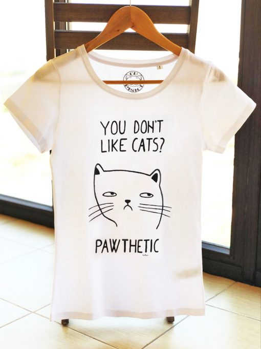 Hand painted T-shirt-Pawthetic Cat, Women