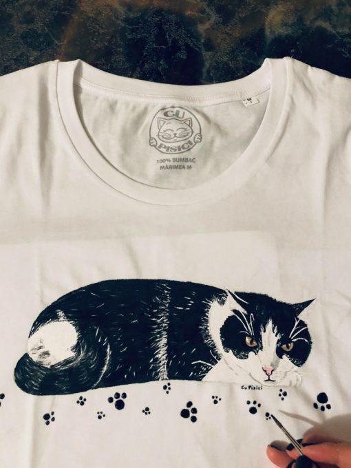 Custom hand painted T-shirt-Bradi Cat Portrait
