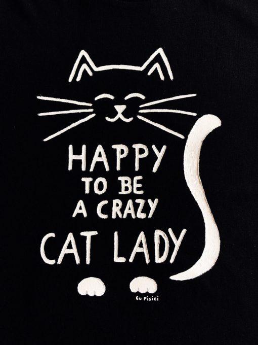 Hand painted T-shirt Crazy Cat Lady (Black), Women