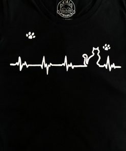Hand painted T-shirt-Heartbeat Cat and Paws-Black, Women
