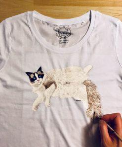 Tricou personalizat cu Pisica Ragdoll, pictat manual