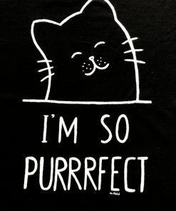 Hand painted T-shirt-I'm so purrrfect (Black), Women