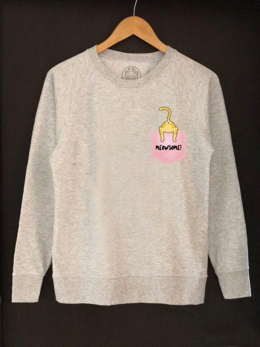 Printed Sweatshirt-Meowsome Ginger Cat, Women