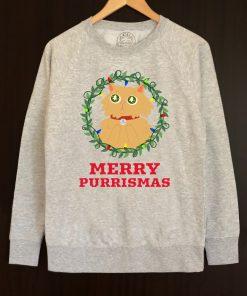 Printed Sweatshirt-Merry Purrismas (Ginger Cat), Men