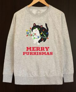 Printed Sweatshirt-Merry Purrismas (Tuxedo Cat), Men