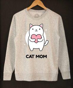Printed Sweatshirt-Cat Mom, Women