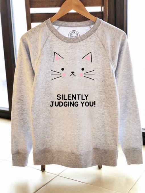 Printed Sweatshirt-Judgemental Cat, Women