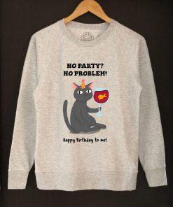 Printed Sweatshirt-Happy Birthday (Black Cat), Women