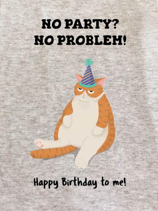 Printed Sweatshirt-Happy Birthaday (Ginger Cat), Men