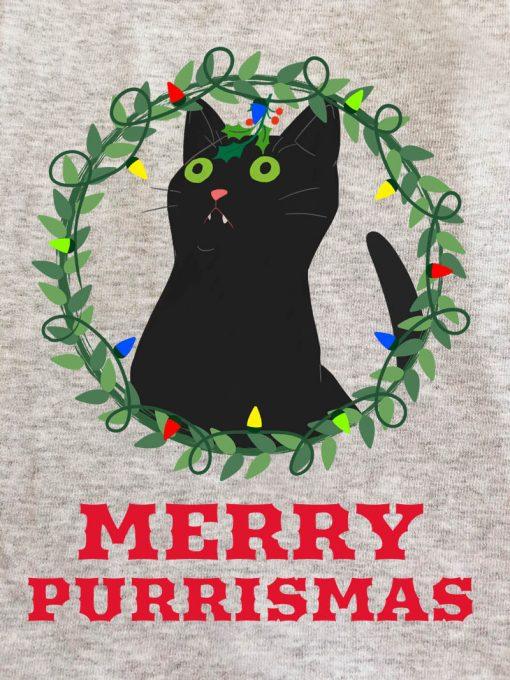 Printed Sweatshirt-Merry Purrismas (Black Cat)