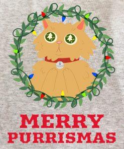 Printed Sweatshirt-Merry Purrismas (Ginger Cat)