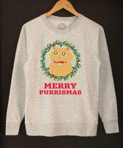 Printed Sweatshirt-Merry Purrismas (Ginger Cat), Women